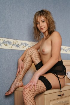 Cutie poses in fishnet stockings.
