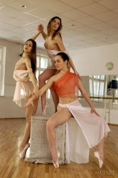 Three adorable ballerinas showing off