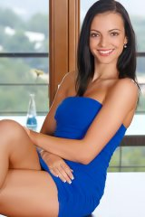 Sapphira A Stripping Skintight Blue Dress